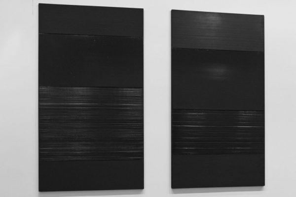 De gauche à droite : Peinture 324 x 181 cm, 14 mars 2009 ; Peinture 324 x 181 cm, 17 novembre 2008