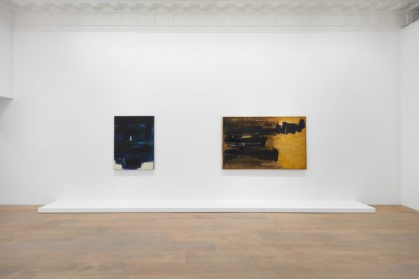 Installation view, Pierre Soulages: A Century, Lévy Gorvy, New York, 2019. Photo: Tom Powel Imaging. Courtesy Lévy Gorvy