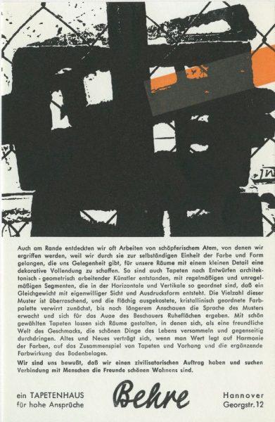 - Publicité dernière page du catalogue (intérieure couverture) à la manière de P. Soulages: